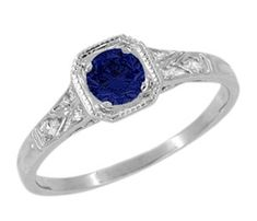 Art Deco Filigree Sapphire and Diamond Engagement Ring in 18 Karat  White Gold
