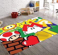 Online Home Decorating Software Super Mario Nursery, Super Mario Room, Playroom Rug, Colorful Playroom, Playroom Ideas, Video Game Decor, Video Game Rooms, Boy Room, Kids Room
