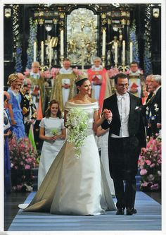 Princess Victoria and Prince Daniel walking down the aisle following their wedding ceremony-June, 2010