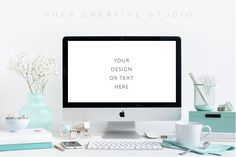 Styled Desktop Turquoise and White by Her Creative Studio on @creativemarket | PSD Mockup | High Resolution Mockup |
