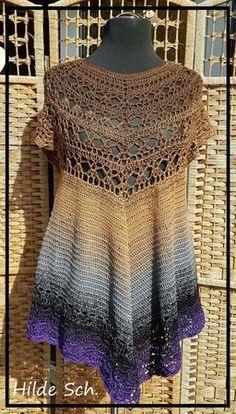 Mystery Tunika **Raglan, worked top down** Tunika häkeln Mystery Tunika **Raglan, worked top down** Crochet T Shirts, Crochet Tunic, Tunisian Crochet, Crochet Clothes, Easy Crochet, Knit Crochet, Free Crochet Jacket Patterns, Work Tops, Crochet Fashion