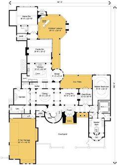 Bonus Room a Great Future Guest Suite - floor plan - Main Level Dream House Plans, Modern House Plans, Small House Plans, House Floor Plans, Mediterranean Homes Exterior, Mediterranean Decor, Exterior Homes, Exterior Paint, Craftsman House Plans