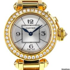 Cartier Pasha 26mm Wj124014 18k Yellow Gold Factory Diamond Bezel Ladies Watch