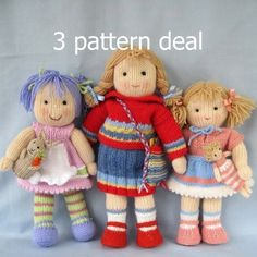 Lucy Lavender, Tilly and Lulu - 3 pattern deal - knitted toy dolls - PDF email knitting pattern etsy pattern - almost like knitted waldorf dolls Polly and Kate doll knitting pattern INSTANT by dollytime What cutie pie knitted dolls! Original patterns for Knitted Doll Patterns, Knitted Dolls, Amigurumi Patterns, Crochet Dolls, Knitting Patterns Free, Knitted Bags, Knitting Yarn, Baby Knitting, Free Knitting