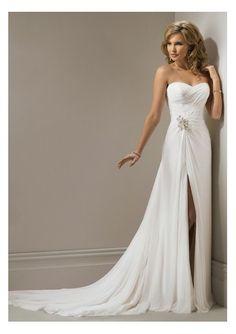 Chiffon Strapless Sheath informal Wedding Dress with Ruched Bodice  $358.79