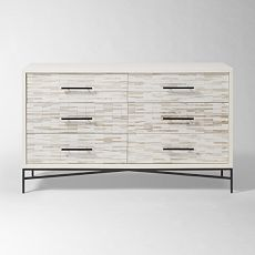 Wood Tiled 6-Drawer Dresser, white wood dresser