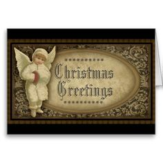 Vintage, Victorian Angel Christmas Card