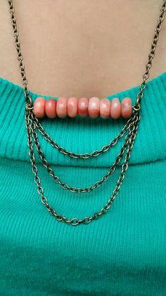 orange stone bead necklace. by irasemasjewelrybox on Etsy