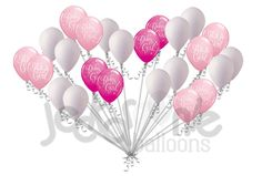 Pink & White Baby Girl Stars Latex Balloons