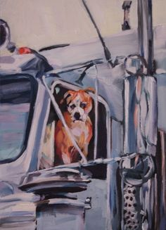 Bulldog In a Moving Truck, painting by artist Nancy Spielman