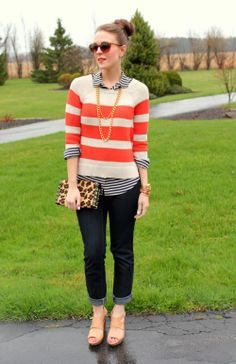 love these two tops together- cute combination of prints!