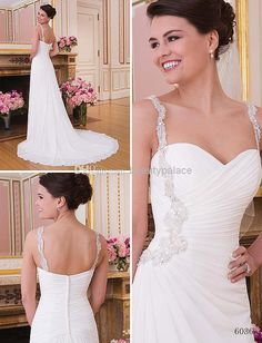 Wholesale Wedding Dresses - Buy Formal Famous Style A Line Spaghetti Straps Beach Wedding Dresses Chapel Train White Chiffon Pleats Garden Corset Wedding Gowns Beads, $138.0 | DHgate