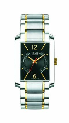 ESQ Movado Men's 07301412 esq SYNTHESIS tm Rectangular Two-Toned Watch ESQ by Movado. $395.00. Case diameter: 30mm. Water-resistant to 30 M (100 feet). Quartz movement. Black dial. Durable mineral crystal