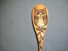 Owl Wooden Spoon Wood burned by notjustknots on Etsy, $5.00