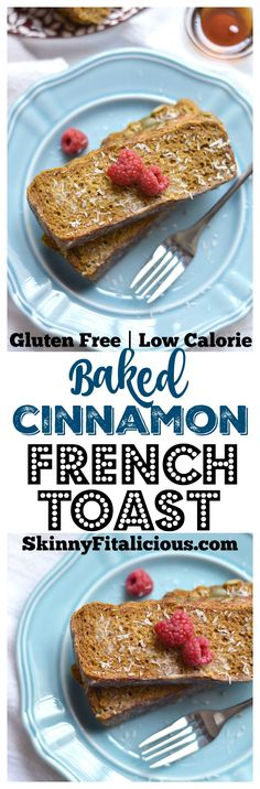 This Healthy Cinnamon Baked French Toast is a simple dump & bake casserole made with sugar free bread & warm spices. A nutritious breakfast to start your day! Gluten Free + Low Calorie!