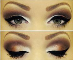 brown smokey eye and white highlighting