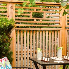 Create pretty backyard privacy with cedar panels that can be built as artfully placed screens or linked to form a custom-look fence.