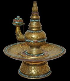 Gilded Brass, Copper & Silver Ritual Water Vessel (Kundika) & Basin Inlaid with Rubies & Turquoise Tibet 18th century