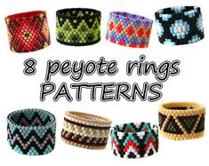 8 Peyote rings patterns 2 Beaded rings patterns PDF Instant
