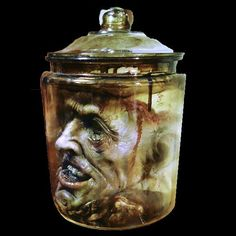 Full Size Deluxe Head In An Aged 2 Gallon Glass Apothecary Jar Head Is The Experiment Of A Mad Man The Skull Is Opened Exposing A Bloody Nasty Mess