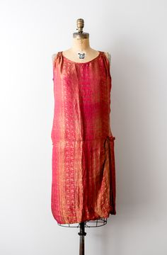 af30f70884d4 Vintage 1920's Red and Gold Lame Metallic Dress - What flapper dreams are  made of!