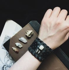 nikanor • upcycled leather cuff bracelet - leather wrist cuff - tooth bracelet - nordic jewelry - gray leather wristband - pagan bracelet
