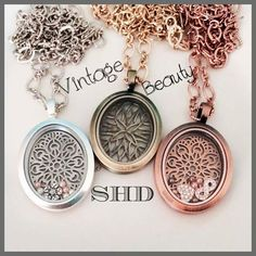 Gold, pink gold and silver Locket Design, Jewelry Design, Locket Charms, Pandora Charms, Pink And Gold, Rose Gold, South Hill Designs, Pretty Designs, Vintage Beauty