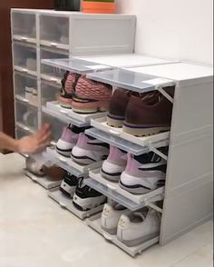 New Drawer Type Shoe Box Our shoe storage boxes have drop-front doors so you can easily access your shoes even when units are stacked or on a high shelf. The clear front and sides allow you to see what's inside at a glance. Say goodbye to the clutter. Closet Shoe Storage, Diy Shoe Rack, Shoe Storage Cabinet, Storage Boxes, Closet Drawers, Shoe Shelves, Shoe Cupboard, Wardrobe Storage, Storage For Shoes