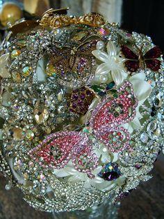 Wedding brooch bouquet butterfly bouquet rhinestone butterflies handmade brooch bouquet weddings