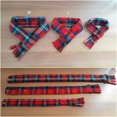 Cat Scarf Dog Scarf Red Plaid Fleece Pet Neckwear Puppy by PinkBau
