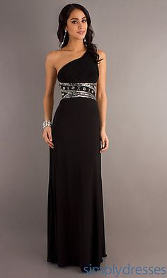 One Shoulder Black Long Dress at SimplyDresses.com