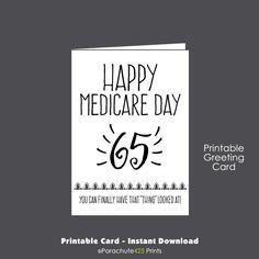 65th Birthday Printable Card Medicare Over The Hill Senior