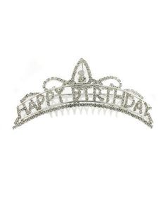 TIARA - HAPPY BIRTHDAY TIARA COMB - SILVER & RHINESTONE HAPPY BIRTHDAY COMB #Tiara
