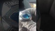 Tank II Fantasy Football Ring with Blue Stone Fantasy Football Rings, Championship Rings, Class Ring, Stone, Blue, Color, Jewelry, Rock, Jewlery