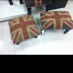 Union jack foot stools....so many places these can go. Only $39 at Marshalls.