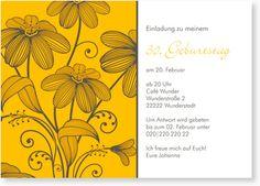 Einladungskarte zum Geburtstag - Blütenpracht in Sonnengelb