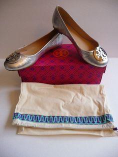 "Tory Burch NIB ""Reva"" Vulcano Silver Leather Ballet Flats Size 8B Retail $250. #ToryBurch #BalletFlats"
