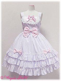 angelic pretty 胸元切り替えストライプジャンパースカート