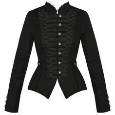 Womens Ladies New Black Gothic Steampunk Military Cotton Tailcoat Coat Jacket UK #HeartsandRosesLondon #Military #Formal