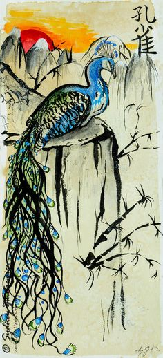 """For sale, please contact for prints as well! Another """"sumi-e"""" style painting, this time-a peacock! I even tried my Chinese character writing again, I used to be good, but I have not done it in such..."""