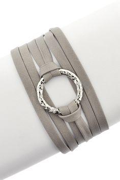 Hammered Ring Leather Wrap Bracelet by LEILA   http://www.hautelook.com/invite/JElizalde915