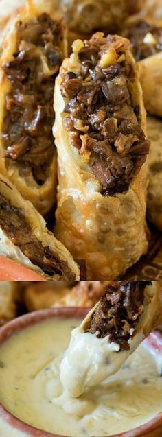 Cheesesteak Egg Rolls PLUS a Certified Angus Beef-Le Creuset Giveaway! Tender shredded beef brisket in crispy fried egg rolls, served with a zesty queso dipping sauce. Philly Cheese Steak, Cheese Steaks, Comida Filipina, Cheesesteak Egg Rolls, Cheesesteak Recipe, Super Bowl Essen, Snacks Sains, Egg Roll Recipes, Beef Dishes