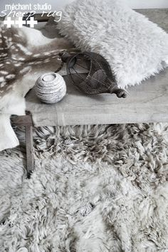 mechantstudio: Sheep Rug / Tapis peau de mouton
