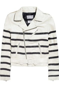 EACH X OTHER Striped leather jacket  NET-A-PORTER.COM