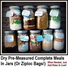 What a great idea!  Measure out all the dry ingredients for the meals and then store it in jars.  When you need one, just pour it out into a pan, add water and cook.  How simple and excellent is that… It offers a nice alternative to simply…