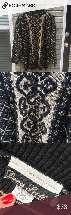 59c27af475a4 Vintage Gold  amp  Black Oversized Sweater Brand  Dana Scott Size  Women s  size large