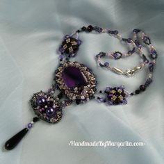 Necklace with Amethyst, glass beads and black Agate $79 #Necklace, #Handmade, #Beading, #Violet, #Jewelry, #Jewellery, #Gift, #Accessories, #Agate, #Amethyst Black Agate, Handmade Accessories, Margarita, Jewelery, Beading, Glass Beads, Crochet Necklace, Amethyst, Gifts