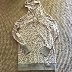 Victoria's Secret leopard velour sweatshirt Like new! Only worn once or twice. Very soft sweatshirt! No stains or anything. Victoria's Secret Tops Sweatshirts & Hoodies