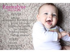 "Monthly baby picture with ""LOVES"" and ""FIRSTS"" for the month...brilliant!"