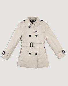 "Burberry Girls' Mini ""Harbourne"" Trench Coat - Sizes 7-14_0"